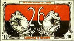 """Schuldschein der Bewegung """"M-26-7"""". Mit solchen Anleihen wurden Mittel für den revolutionären Kampf zusammengetragen."""